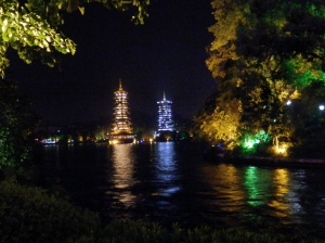 Guilin pagodas at night