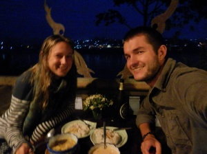 Our last Thai dinner, overlooking the Mekong River and Laos