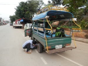 A flat tyre as well... Come on Laos!