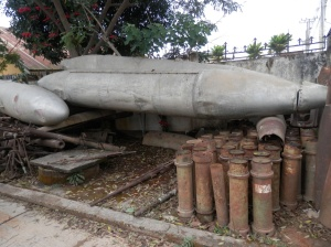 Bombs that have been collected from the local area