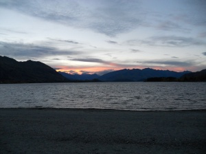 Sunset, lake, snow-tipped mountain.  Thanks Wanaka