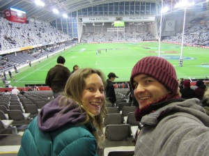 Chilling in the Forsyth Barr Stadium, cold!
